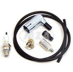 Set Zündung für Simson,  Kabel schwarz mit Zündkerze BERU Isolator 260, Kerzenstecker BERU wassergeschützt, Kondensator und Unterbrecherkontakt