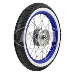 Komplettrad - VORNE - 1,5x16 Zoll - Alufelge blau eloxiert und poliert, Chromspeichen - MITAS-Weißwandreifen MC2 montiert