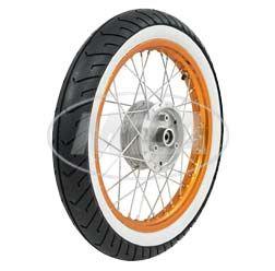 Komplettrad - VORNE - 1,5x16 Zoll - Alufelge orange eloxiert und poliert, Chromspeichen - MITAS-Weißwandreifen MC2 montiert