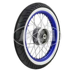Komplettrad - HINTEN - 1,5x16 Zoll - Alufelge blau eloxiert und poliert, Edelstahlspeichen - MITAS-Weißwandreifen MC2 montiert