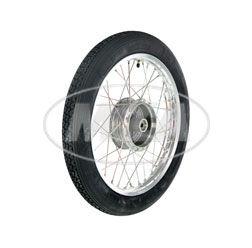 Komplettrad 1,5x16 Zoll - Alufelge poliert, Edelstahlspeichen - mit Heidenau-Reifen K4 montiert (Radnabe: Graugussbremsring + abgedrehte Flanken)