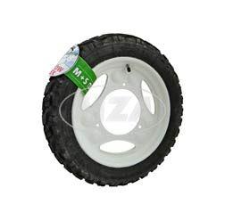 WINTER-Komplettrad, Scheibenrad, weiß, 12 Zoll - für Roller SR50, SR80 - Heidenau-Reifen 3.00-12, 47J, TT, Enduro, M+S Snowtex, K57 montiert