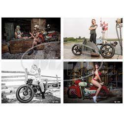 SET Fanposter DIN A1 ? 4-teilig - Thema: Heiße Mädels und Mopeds - 4 verschiedene Motive!