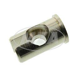SET = 10x Lötnippelaufnahme, geschlitzt, für Bowdenzüge, Seilzüge - speziell für die alten Brems- und Kupplungshebel aus Aluminium - Höhe 15,5mm