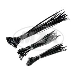 Set Cable ties, black, different sizes, 75pcs