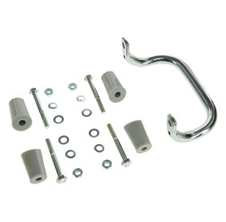 SET Anbauteile zum Gepäckträger mit Aufbockgriff für Schwalbe KR51 - graue Distanzstücke