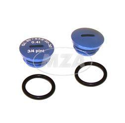 SET Verschlußschraube - Alu blau -mit O-Ringen  -  S51,S53,S70,SR50,SR80,KR51/2