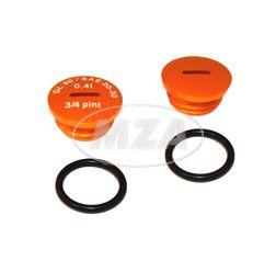 SET Verschlußschraube - Alu orange -mit O-Ringen  -  S51,S53,S70,SR50,SR80,KR51/2