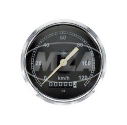 Tachometer BK350 - (Wegdrehzahl 1) - BS 80/120 DIN 75521 - Gehäuse verchromt, Tachoglas gewölbt