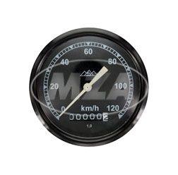 Tachometer, Ø80mm - schwarz - 120km/h-Version, Tachoglas gewölbt - pass. für AWO 425T, 425S - mit Drei-Berge-Logo