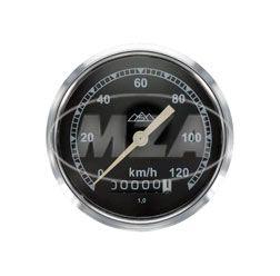 Tachometer, Ø80mm - verchromt - 120km/h-Version, Tachoglas gewölbt - pass. für AWO 425T, 425S - mit Drei-Berge-Logo