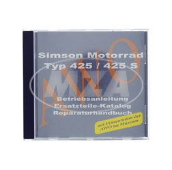 CD,  SIMSON Motorcycle  425/425S ORIGINALDOCUMENTS  (repairmanuals, spare part lists, instruction manuals and presentation of AWO at the museum)