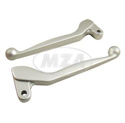 Handhebel  SET SIMSON, ALU-massiv,  Bremshebel + Kupplungshebel (auch für Ausführung mit Bremslichtschalter) Farbe silber matt, S51,S53, SR50 +