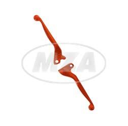 Bremshebel + Kupplungshebel, Alu-massiv, orange - für Scheibenbremse auf SIMSON-Basis - S53, S83, SR50, SR80