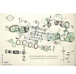 Explosionsdarstellung Farbposter (72x50cm) 50cm-Zweitakt-Motor gebläsegekühlt; 3-Gang-Getriebe mit Hand- oder Fußschaltung (beidseitig Glanzcello, schmutzabweisend)