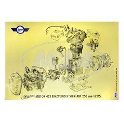 Explosionsdarstellung Farbposter (72x50cm) Motor 425 Einzylinder Viertakt 250ccm 12 PS (beidseitig Glanzcello, schmutzabweisend)