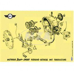 Explosionsdarstellung Farbposter (72x50cm) Viergang-Getriebe mit Fußschaltung AWO Sport (beidseitig Glanzcello, schmutzabweisend)
