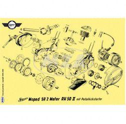 Explosionsdarstellung Farbposter (72x50cm) Motor RH50II SR2 mit Pedalkickstarter (beidseitig Glanzcello, schmutzabweisend)
