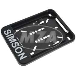 Interchangeable number plate holder, black with printing - 168x122 mm