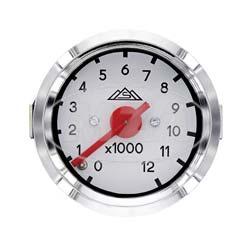 Mechanischer Drehzahlmesser Ø48mm bis 12000 U/min, Gehäuse mit Lichtschlitz, Zifferblatt weiß