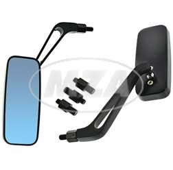 2x rear-view mirror - square, black