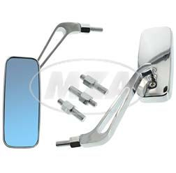 2x rear-view mirror - square, chromed