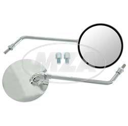 Paar Rückblickspiegel Ø105 mm, chrom - Gewinde M8 / M10 mit Adapter