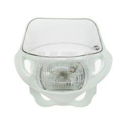 Scheinwerfermaske mit Scheinwerfer - weiß - für Simson .050TS, .050SC - 12V 35/35W, mit Standlicht
