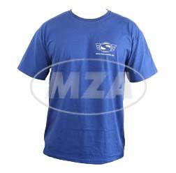 T-Shirt naviblau mit Firmenlogo Reflexdruck silber XXL (mit kleinem Simson-Logo vorne und großem SIMSON-Logo hinten)