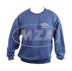 Sweatshirt, Pullover - Größe S, naviblau - mit Reflexdruck silber (SIMSON-Logo m. Web-Adresse vorne und hinten großem SIMSON-Logo)