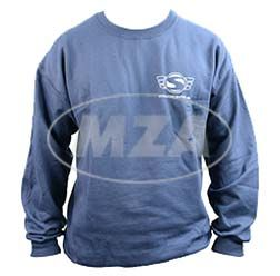 Sweater (Classic Sweater U.S. Basics) navy blue with Logo, Flex silver L (with SIMSON logo, web address up front and bigger SIMSON Logo on the back)