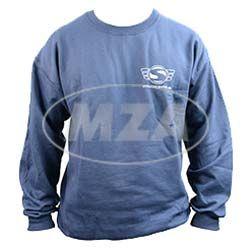 Sweatshirt, Pullover - Größe L, naviblau - mit Reflexdruck silber (Logo m. Web-Adresse, vorne und hinten großem Logo)