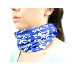 Tubular cloth, multifunctional cloth, scarf in Poly bag - image: SIMSON-brand logo - white imprint, blue background