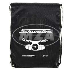 Retro-Sportbeutel - schwarz, mit Kordelzugverschluss - Material: 210D-Polyester - mit Aufdruck: Schwalbe und Frontmotiv