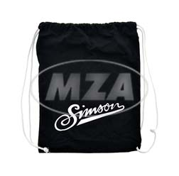 Retro-Sportbeutel - schwarz, mit Kordelzugverschluss - 100% Baumwolle - Motiv: SIMSON-weich