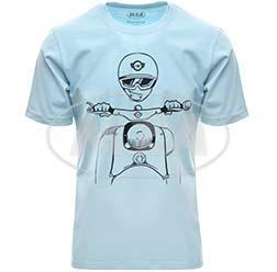 T-Shirt, Farbe: OceanBlue, Größe: L - Motiv: Schwalbe Kumpel - 100% Baumwolle