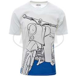 T-Shirt, Farbe: weiß, Größe: S - Motiv: Schwalbe auf Olympiablau - 100% Baumwolle