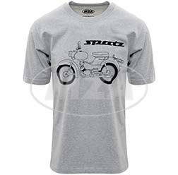T-Shirt, Farbe: hellgrau meliert, Größe: L - Motiv: Spatz Basic - 100% Baumwolle