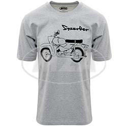 T-Shirt, Farbe: hellgrau meliert, Größe: L - Motiv: Sperber Basic - 100% Baumwolle