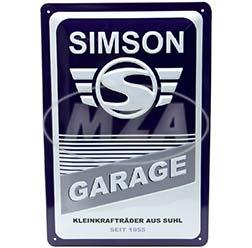 Blechprägeschild 20x30 cm, blau/weiß, Motiv: SIMSON-Garage