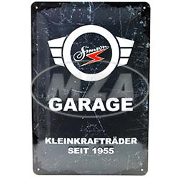 Blechprägeschild 20x30 cm, grau/weiß, Motiv: SIMSON-Garage