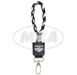 Schlüsselanhänger, kurz, schwarz/weiß, Motiv: SIMSON