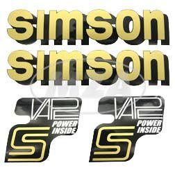 Set Klebefolie/ Aufkleber für SIMSON Tank und Seitendeckel, schwarz/gold/weiß - VAPE-POWER-INSIDE