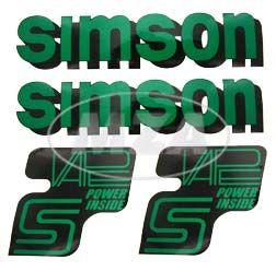 Set Klebefolie/ Aufkleber für SIMSON Tank und Seitendeckel, billardgrün / schwarz/ weiß - VAPE POWER-INSIDE