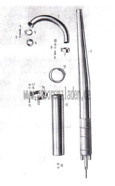 Auspuff zweiteilig Geradeform L=1150mm D=40mm ES250//2 Trophy ETS 28090