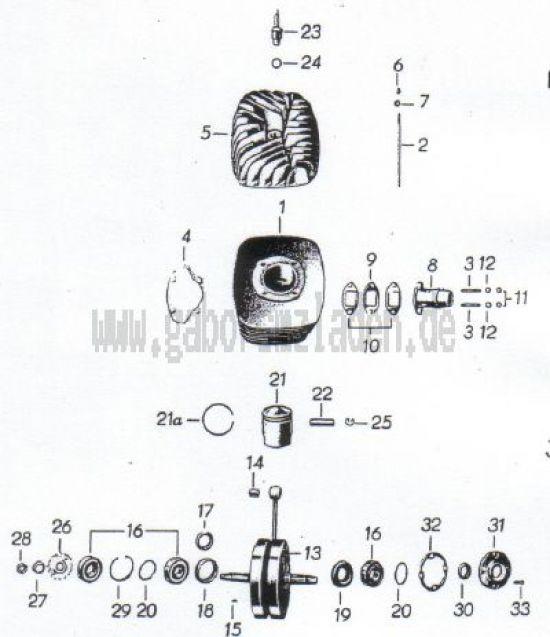 18. Zylinder, Kolben, Kurbelwelle