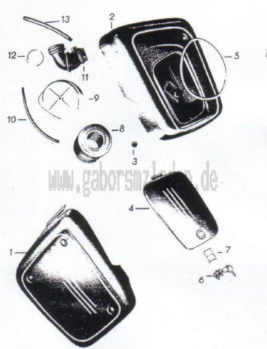 12. Verkleidung, Ansauggeräuschdämpfer, Luftfilter