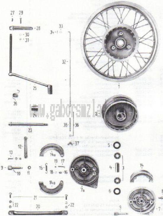 14. Hinterrad, Radkörper, Bremse, Bremsbetätigung