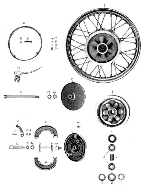 12. Vorderrad: Nabe, Bremse und Bremsbetätigung