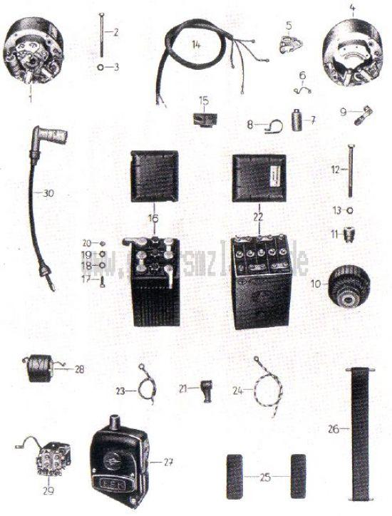16. Lichtmaschine, Spulenkasten, Batterie, Zündkabel